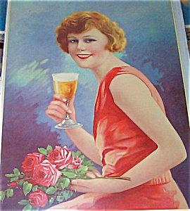 Vintage Art Prints: Germany: Lady Drinking Beer Holding Roses