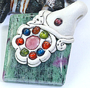 Ruby Zoisite Earth Clay Handcrafted Pendant: Gemstone Jewelry