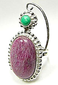 Ruby Zoisite & Malachite Ring Size 7.75 Sterling Silver
