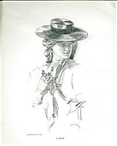 Antique Harrison Fisher Print Horseback Riding Victorian Lady