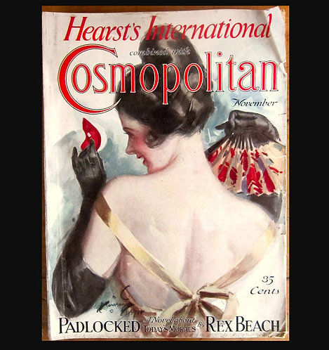 1925 Vintage Cosmopolitan Magazine Harrison Fisher Cover Art Deco Ads