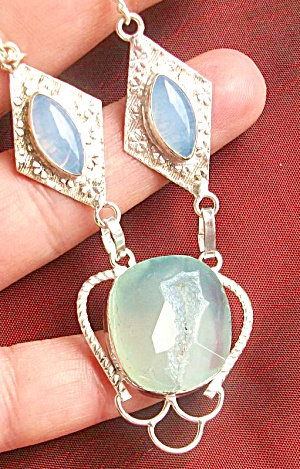 Agate Druzy Opalite Necklace Sterling Silver Multi Stone