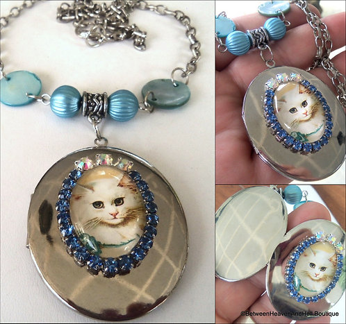 Large Blue Rhinestone White Cat Cameo Locket Necklace, Handcrafted Cat Jewelry