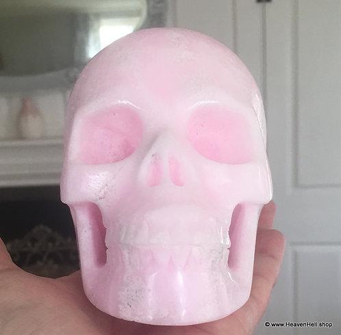 "5.1"" Large Pink Aragonite Skull Angelic Realm Energy, Angel Healing Crystal"