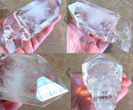 "4.75"" Large Clear Quartz Crystal Skull Point Wand Manifestation, Psychic Ability"