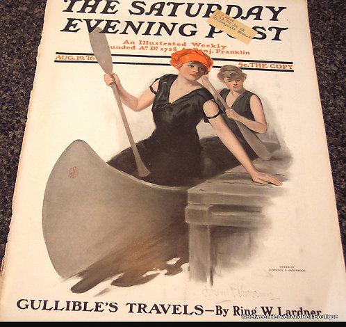 1916 Vintage Saturday Evening Post Magazine Cover Art, Canoe
