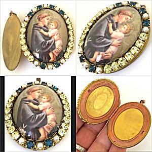 Large Vintage St. Anthony Rhinestone Cameo Locket Catholic Patron Saint Pendant