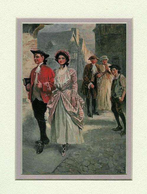 1907 Antique Art Print Colonial Street Romance Clarence Underwood Romance print
