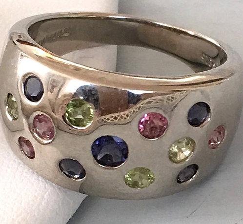 Vintage Multi Gemstone Sterling Ring 1980's .925 silver size 9