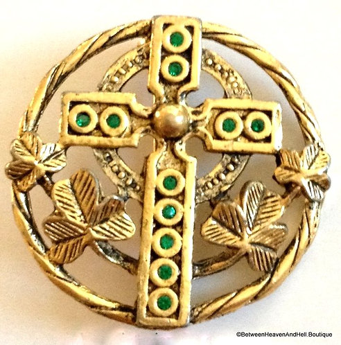"1.25"" Round Vintage Celtic Cross Pin Brooch with Green Rhinestones"