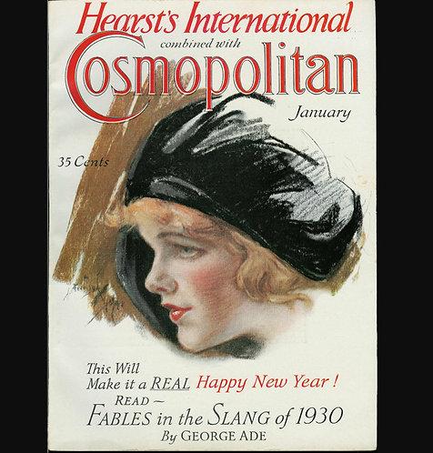 1932 Vintage Cosmopolitan Magazine Harrison Fisher Cover Art Deco Lady, Ads
