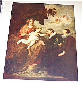 Religious Vintage Art Print: Virgin Mary, Angels, Cherubs
