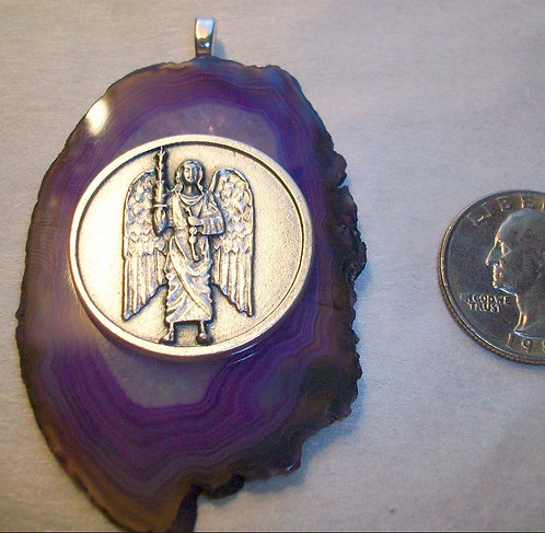 Large Purple Agate Slice Angel Pendant Archangel St. Micheal Protection Jewelry
