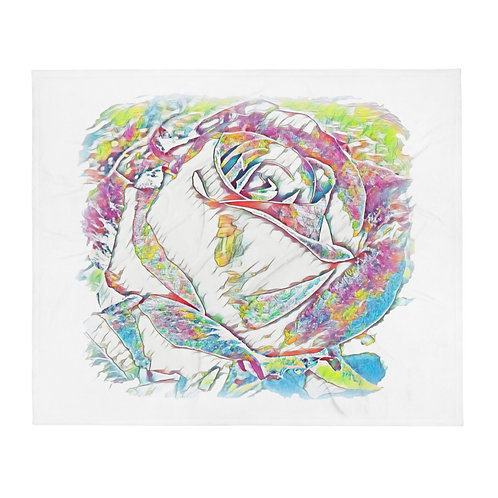 Colorful Watercolor Rose Shabby White Throw Blanket BOHO Hippie Chic Home Decor