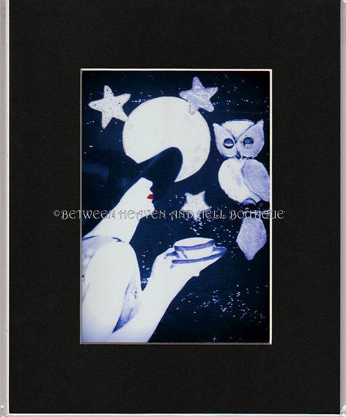 8X10 Altered Art print Full Moon Tea Deco Woman Owl Midnight Moonlight Artwork
