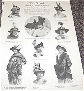 Antique & Vintage Prints Fashion Ads Hats: Real Photo