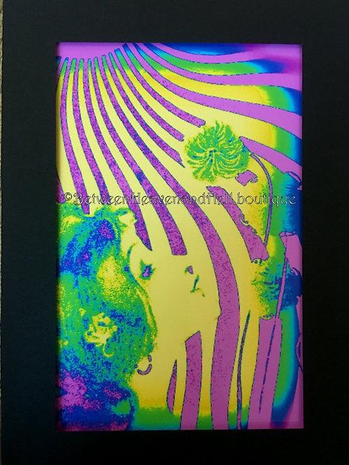5x7 Hypnotic BOHO Chic Giclee Print 1960's Hippie Decor Sunbeams Art Deco Woman