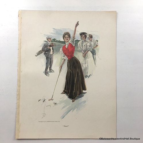 1907 Vintage Woman Golfing Print Victorian Golf Lady Golfer Golfing