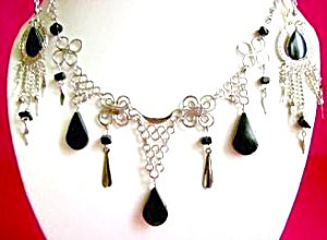 Black Onyx Gemstone Necklace Dangle Earrings Set Silver