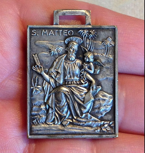 Rare Antique Large Holy Medal St. Matthew Apostle Angel Cathedral Of San Matteo