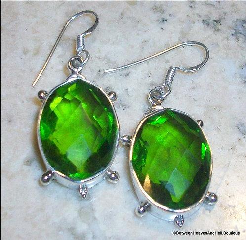 Vintage Oval Faceted Peridot Green Quartz Sterling Silver Drop Earrings