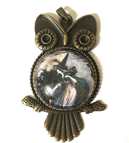 """2"""" Handcrafted Vintage Style Owl & Witch Wearable Art Jewelry Cameo pendant"""