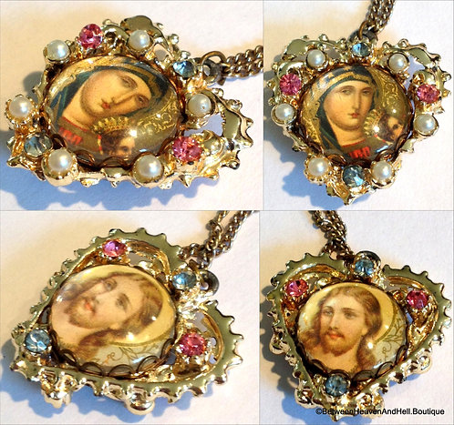 Vintage Madonna Double Side Necklace Jesus And Virgin Mary