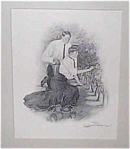 Antique Vintage Prints: Romance Garden Scene Underwood