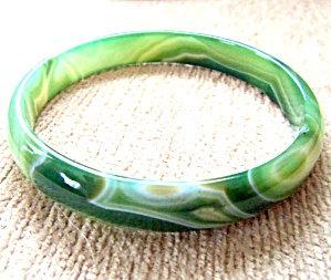 Green Agate Gemstone Bangle Bracelet