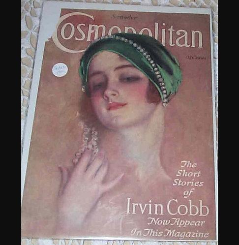 Vintage Harrison Fisher Cosmopolitan magazine Cover Art Deco Lady Jeweled Hat