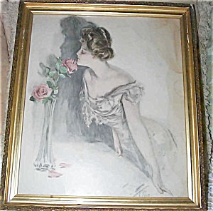 Antique Print Pink Roses Victorian Lady Harrison Fisher