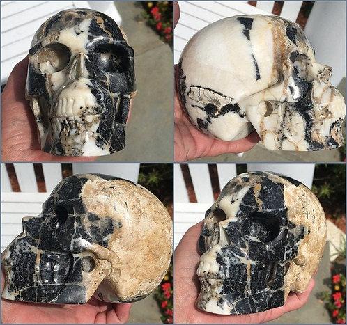 """5.1"""" Large Dramatic Zebra Jasper Crystal Skull Divination Good Luck Energy"""