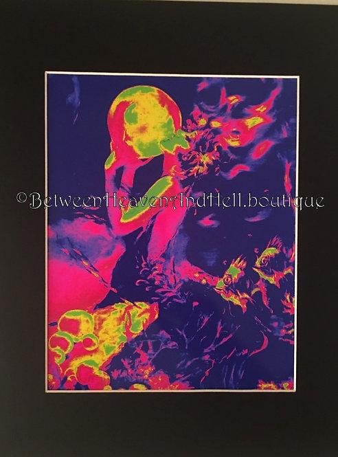 8x10 BOHO Art Deco Mermaid & Crystal Ball Giclee art Print Between Heaven & Hell