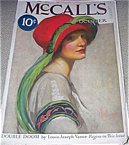 Neysa Mcmein Vintage Mccalls Magazine Cover Lady Red Feather Hat