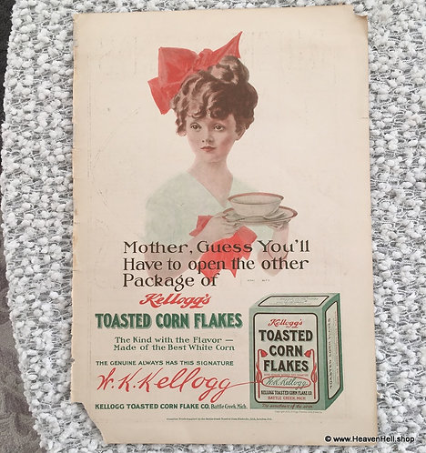 Vintage 1910 Kellogg's Corn Flakes Cereal Ad: Henry Hutt Girl