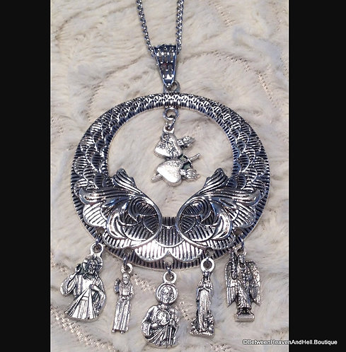 Handmande Filigree Religious Charm Necklace Saint Jude Pio Jesus Virgin Mary