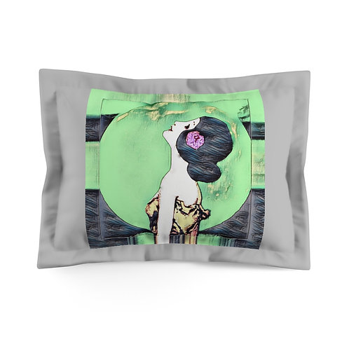 BOHO Gray Microfiber Pillow Sham Spiritual Bedroom Decor Full Moon Starlight
