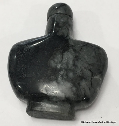 "2.5"" Black & Gray Gemstone Bottle, Potions, Oils, Perfume, Elixir, Magic Spells"