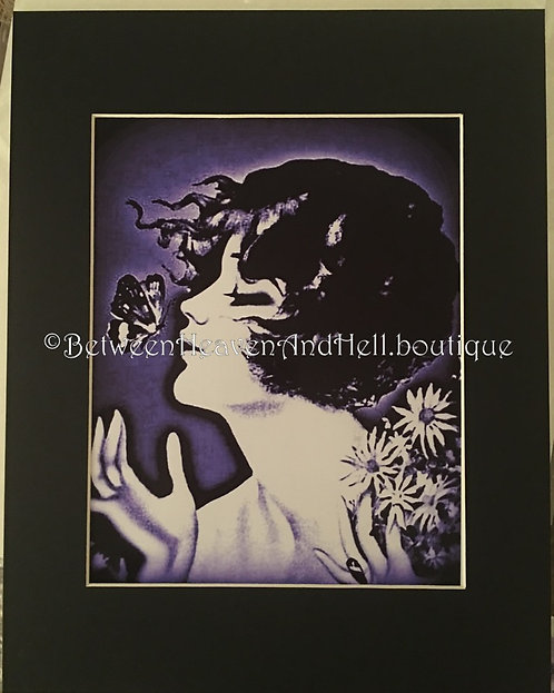 11x14 Daisy Altered Art Deco Woman Butterfly Giclee Print Between Heaven & Hell