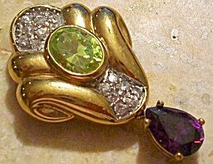 Vintage Gold Slide Pendant: Amethyst Drop Peridot Pave Diamond