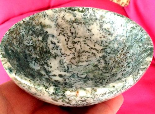 "4.1"" Large Dendritic White Tree Agate Gemstone Bowl - Abundance, Earth Energy"