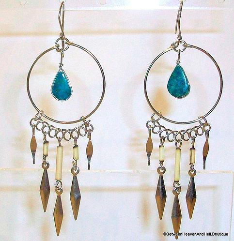 "3.5"" Long Dangle Silver Earrings Chrysocolla Teardrop Bamboo Accents, Handmade"