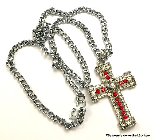 """Large Vintage Red & Clear Rhinestone Bejewelled Cross 22"""" Necklace"""