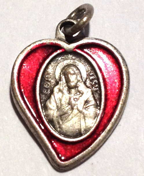 Religious Jewelry, Vintage Red Enamel Sacred Heart Jesus Charm Scapular Medal