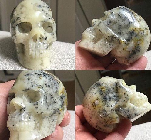 Rare Merlinite - Dendritic Opal Agate Crystal Skull, Move energy, Magick Alchemy