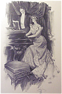 Vintage Music Prints: Victorian Lady Piano Harrison Fisher
