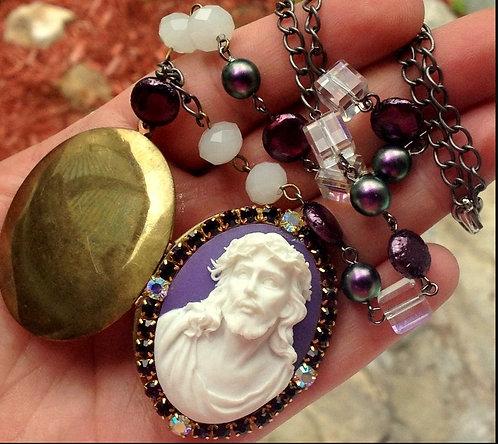 Prayer Locket Necklace Jesus Christ Purple Rhinestone Remembrance Jewelry