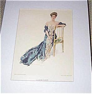 Vintage Howard Chander Christy Print Victorian Lady Debutante