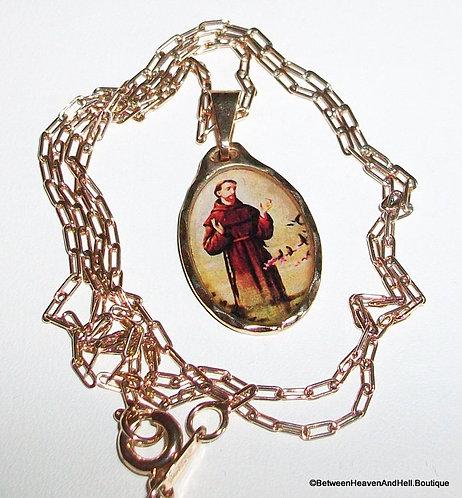 Vintage 14k Rose Gf Saint St. Francis Medal Pendant Necklace