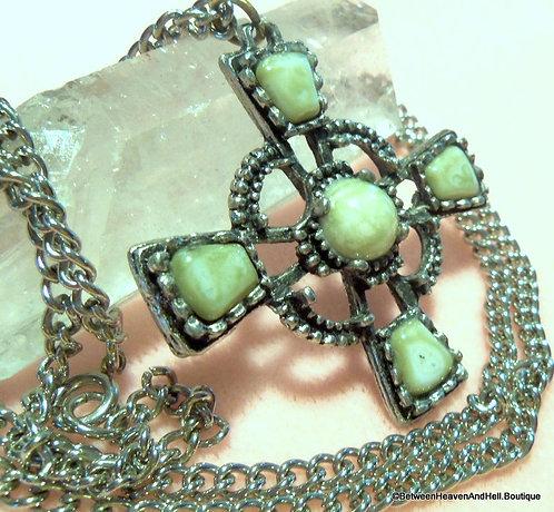 Vintage Large Agate Maltese Cross Necklace, gemstone Pendant